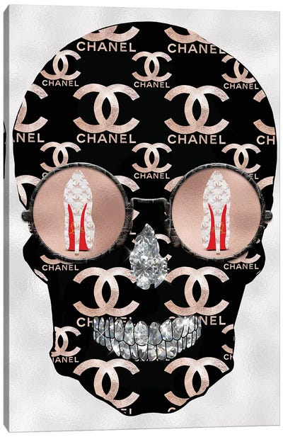 Chanel Rose Gold Black Fashion Skull Canvas Art Print