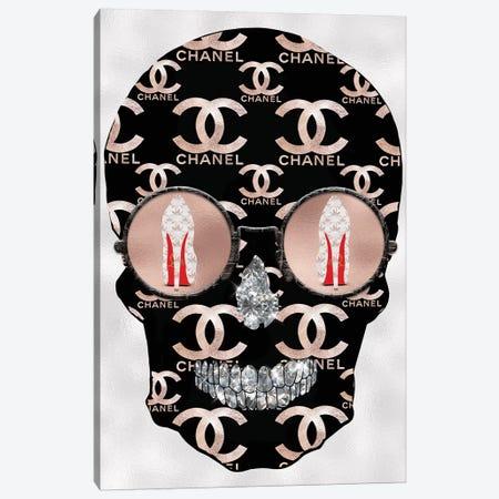 Chanel Rose Gold Black Fashion Skull Canvas Print #POB51} by Pomaikai Barron Canvas Artwork