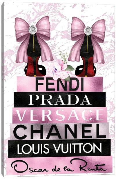 Pink Bow Red Bottom High Heels On Pink & Black Fashion Books Canvas Art Print