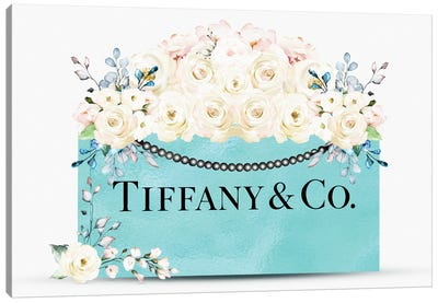 Teal Fashion Shopping Bag With White Pink & Blue Florals Canvas Art Print