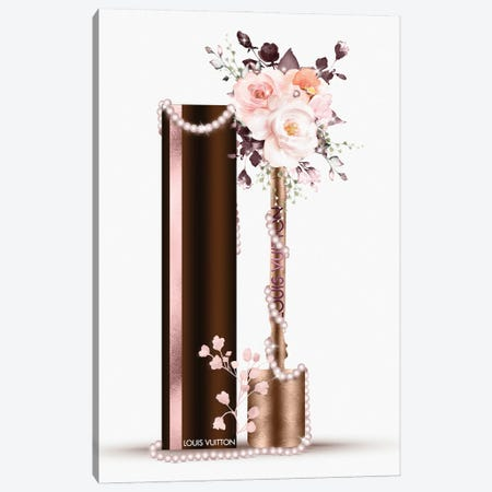 Bronze Fashion Lip Gloss With Blush & Deep Red Florals Canvas Print #POB529} by Pomaikai Barron Art Print