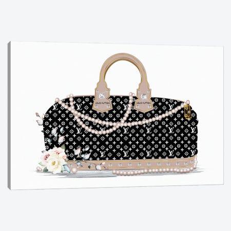 Black And White Fashion Duffle Bag With Beige Pearls & Roses Canvas Print #POB531} by Pomaikai Barron Canvas Artwork
