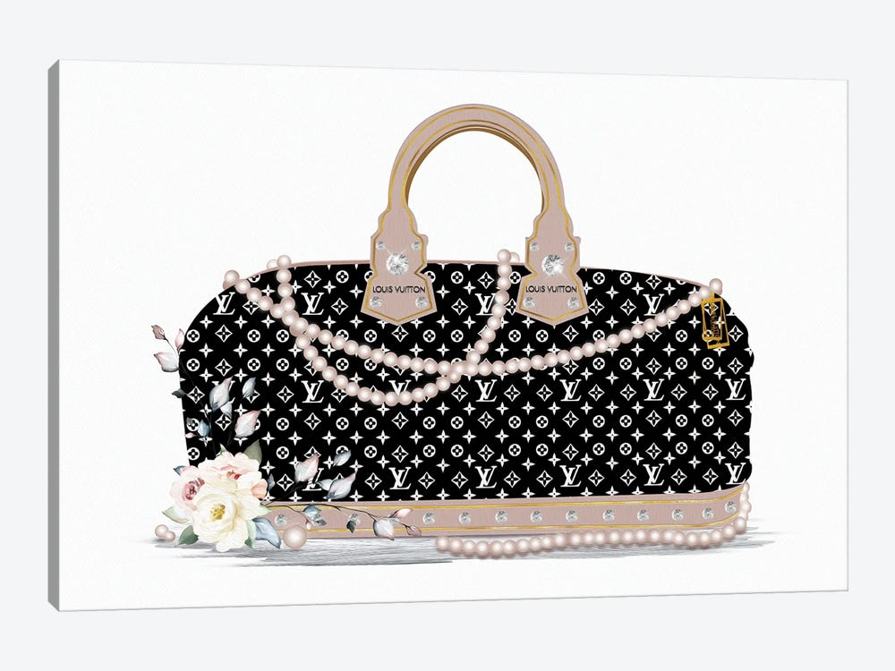 Black And White Fashion Duffle Bag With Beige Pearls & Roses by Pomaikai Barron 1-piece Canvas Wall Art
