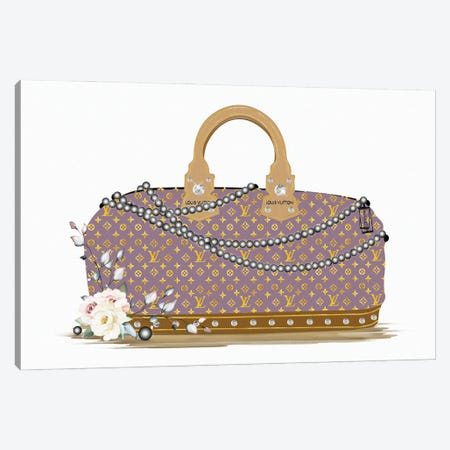 Mauve And Gold Fashion Duffle Bag With Black Pearls & Roses Canvas Print #POB532} by Pomaikai Barron Canvas Art