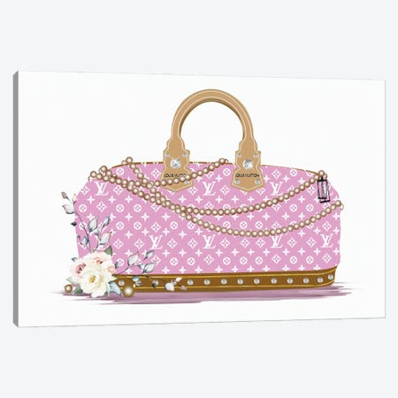 Pink And White Fashion Duffle Bag With Brown Pearls & Roses Canvas Print #POB533} by Pomaikai Barron Canvas Art