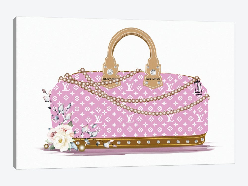 Pink And White Fashion Duffle Bag With Brown Pearls & Roses by Pomaikai Barron 1-piece Canvas Wall Art