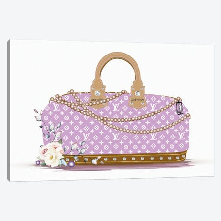 Purple And White Fashion Duffle Bag With Brown Pearls & Roses Canvas Print #POB534} by Pomaikai Barron Canvas Print