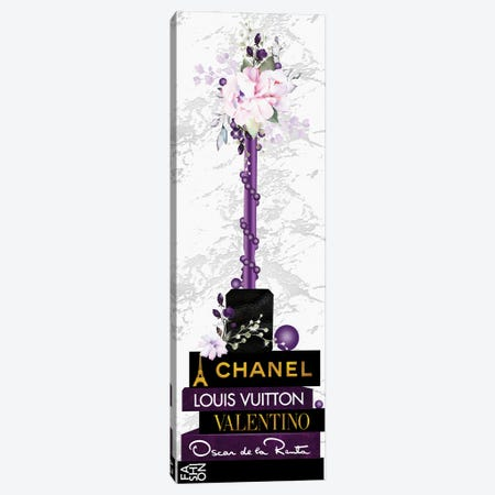 Purple Lip Gloss Vase With Roses & Pearls On Fashion Books Canvas Print #POB535} by Pomaikai Barron Canvas Art Print