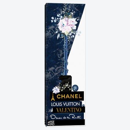 Blue Lip Gloss Vase With Roses & Pearls On Fashion Books Canvas Print #POB536} by Pomaikai Barron Canvas Print