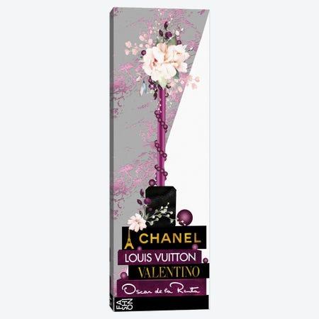 Magenta Lip Gloss Vase With Roses & Pearls On Fashion Books Canvas Print #POB537} by Pomaikai Barron Canvas Print