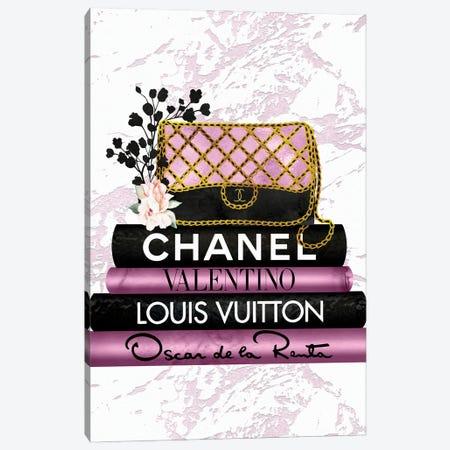 Pink & Black Quilted Fashion Hand Bag On Black & Pink Fashion Books Canvas Print #POB538} by Pomaikai Barron Canvas Wall Art