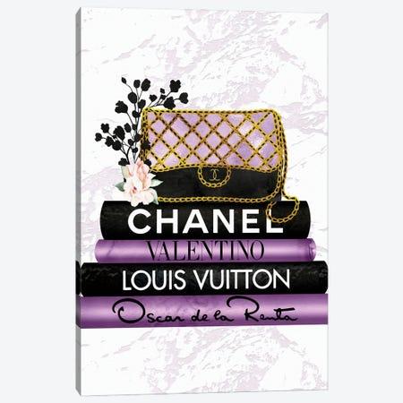 Purple & Black Quilted Fashion Hand Bag On Black & Purple Fashion Books Canvas Print #POB539} by Pomaikai Barron Canvas Artwork