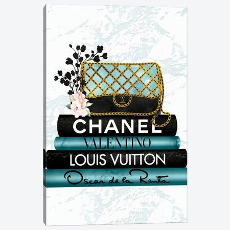 Turquoise & Black Quilted Fashion Hand Bag On Black & Turquoise Fashion Books Canvas Print #POB541} by Pomaikai Barron Art Print