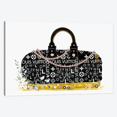 Black And Gold Fashion Duffle Bag With Florals & Pearls Canvas Print #POB543} by Pomaikai Barron Art Print