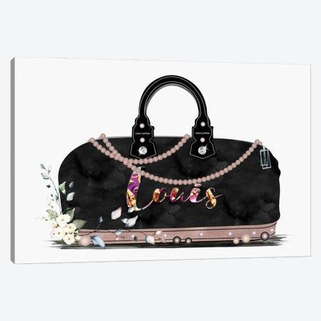Black And Tan Fashion Duffle Bag With Florals & Pearls Canvas Print #POB545} by Pomaikai Barron Canvas Artwork