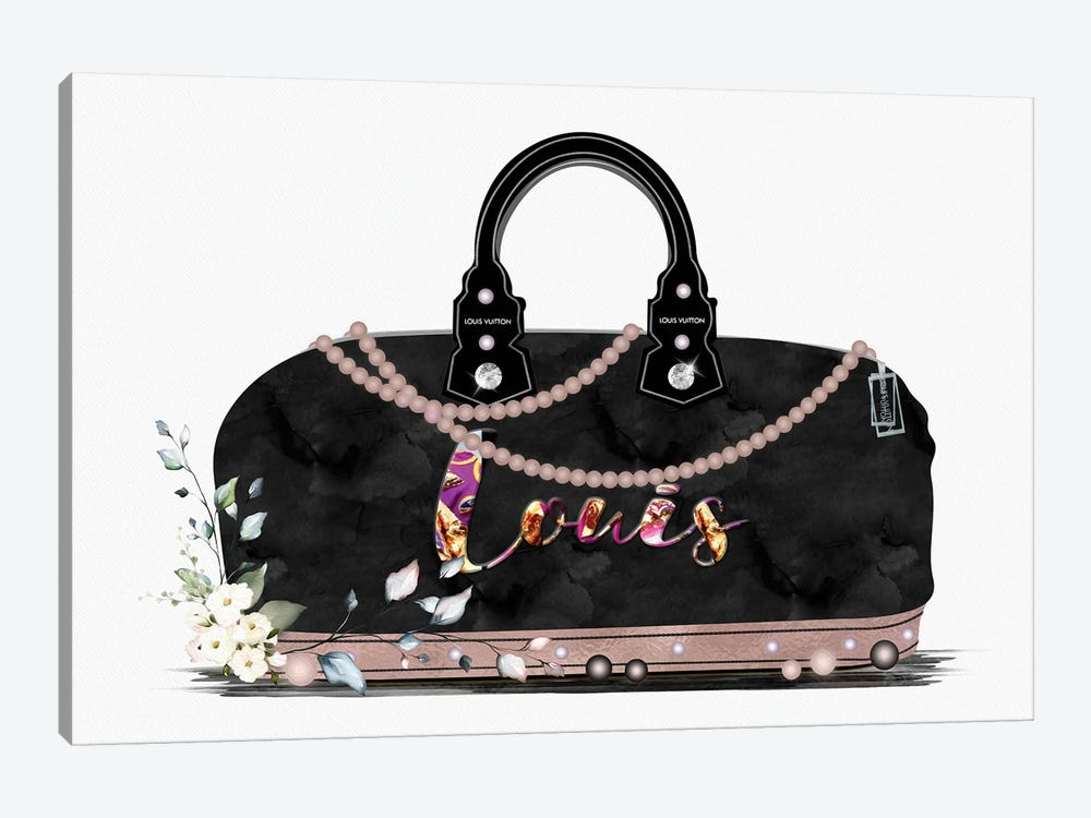Black And Tan Fashion Duffle Bag With Florals & Pearls by Pomaikai Barron 1-piece Canvas Print
