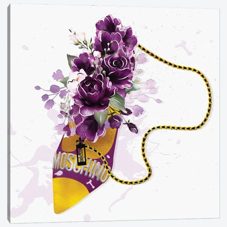 Magenta & Gold High Heel Bag With Purple Blush Florals Canvas Print #POB546} by Pomaikai Barron Canvas Art
