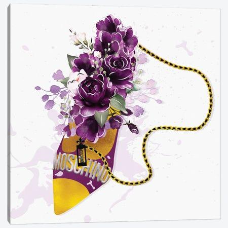 Magenta & Gold High Heel Bag With Purple Blush Florals Canvas Print #POB546} by Pomaikai Barron Canvas Art