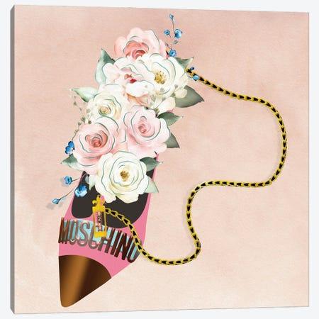 Pink Bronze High Heel Bag With White & Pink Blush Roses Canvas Print #POB547} by Pomaikai Barron Canvas Artwork