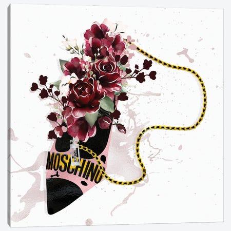 Rose Gold & Black High Heel Bag With Deep Red Roses Canvas Print #POB548} by Pomaikai Barron Canvas Art Print
