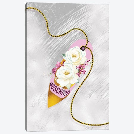 Pink & Gold High Heel Bag With White Roses Canvas Print #POB550} by Pomaikai Barron Canvas Art