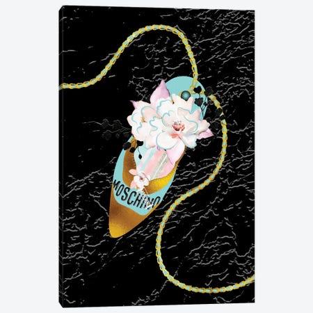 Teal Gold High Heel Bag With Macarons & Roses Canvas Print #POB551} by Pomaikai Barron Canvas Artwork