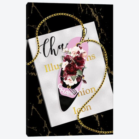 Pink & Black High Heel bag With Deep Red Roses On A Silver Fashion Book Canvas Print #POB552} by Pomaikai Barron Canvas Artwork
