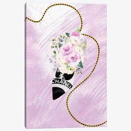 White & Black High Heel Bag With Blush Purple Roses Canvas Print #POB554} by Pomaikai Barron Canvas Art Print