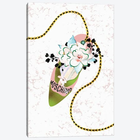 Deep Peach & Jade High Heel Bag With Roses & Macarons Canvas Print #POB555} by Pomaikai Barron Canvas Print