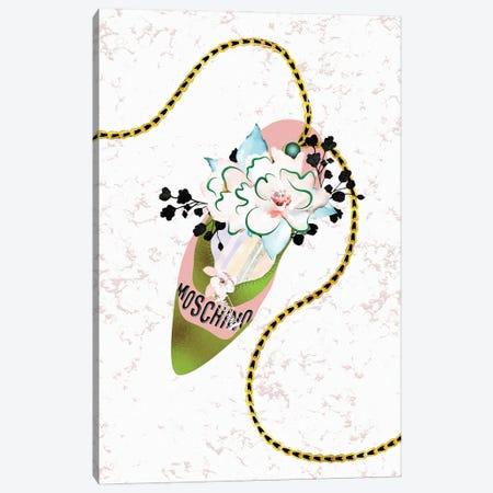 Deep Peach & Jade High Heel Bag With Roses & Macarons Canvas Print #POB555} by Pomaikai Barron Canvas Print