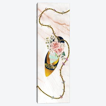 Dark Blue & Gold High Heel Bag With Roses & Macarons Canvas Print #POB556} by Pomaikai Barron Canvas Art Print