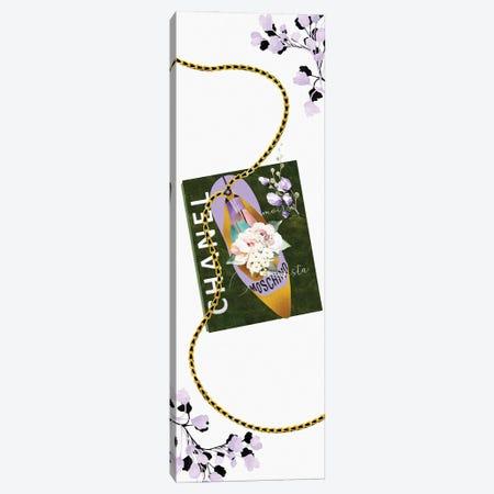 Lavender & Gold High Heel Bag With Roses & Macarons On A Sage Green Fashion Book Canvas Print #POB557} by Pomaikai Barron Canvas Art Print