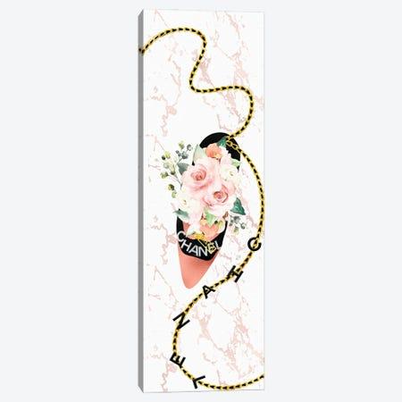 Black & Rose Gold High Heel Bag With Blush Pink Roses Canvas Print #POB560} by Pomaikai Barron Canvas Art Print