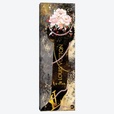 Gilded Grunge Furry Thigh High Boot With Blushed Roses & Pearls Canvas Print #POB563} by Pomaikai Barron Art Print