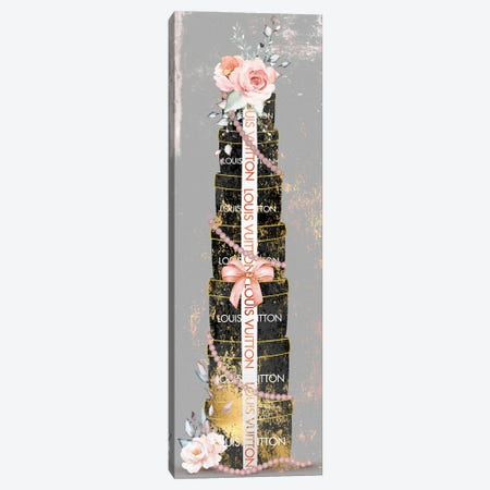 Pretty Grunged Black & Gold Stacked Fashion Boxes With Blushed Roses Canvas Print #POB565} by Pomaikai Barron Canvas Artwork