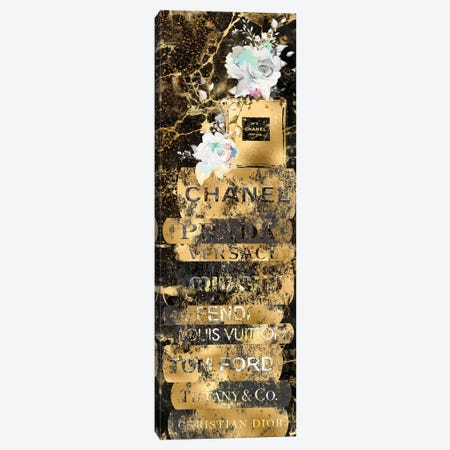Gold Grunge Fashion Book Stack With Perfume Bottle & Roses Canvas Print #POB567} by Pomaikai Barron Canvas Artwork