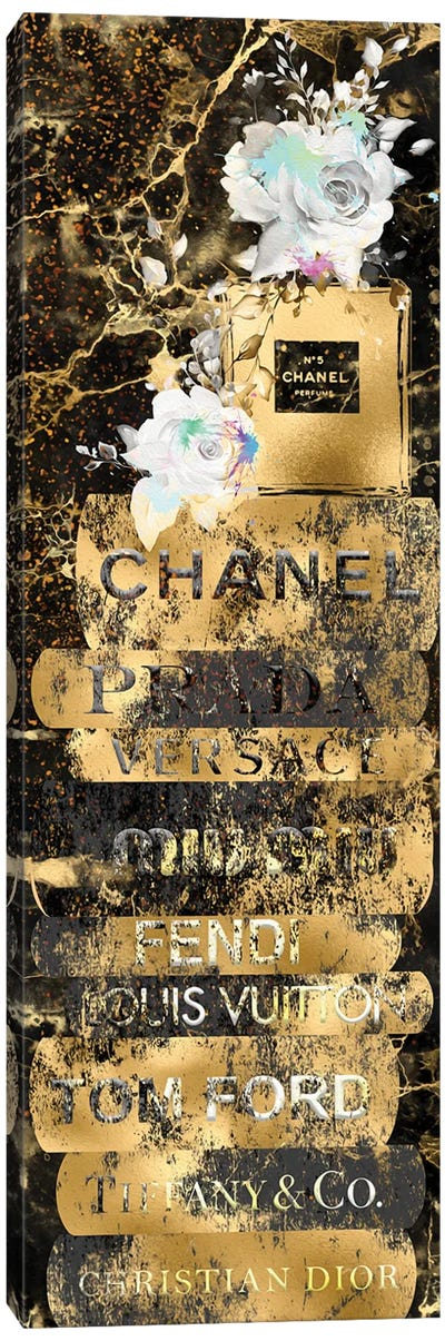 Gold Grunge Fashion Book Stack With Perfume Bottle & Roses Canvas Art Print