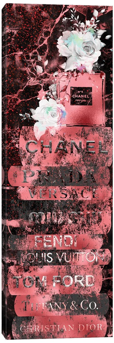 Red Gold Grunge Fashion Book Stack With Perfume Bottle & Roses Canvas Art Print