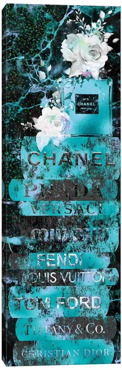 Aqua Blue Grunge Fashion Book Stack With Perfume Bottle & Roses Canvas Art Print