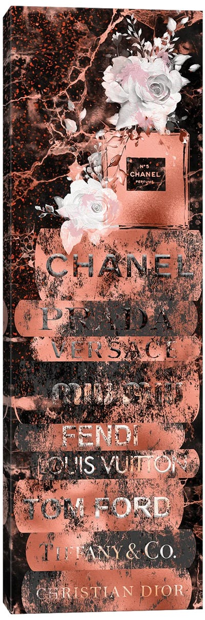 Grunge Rose Gold Fashion Book Stack With Perfume Bottle & Roses Canvas Art Print