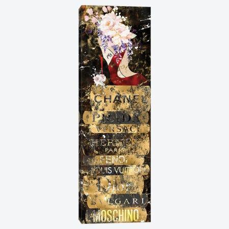 Crimson Red Bottom High Heel With Rose Bouquet On Gold Grunged Fashion Books Canvas Print #POB575} by Pomaikai Barron Canvas Art Print
