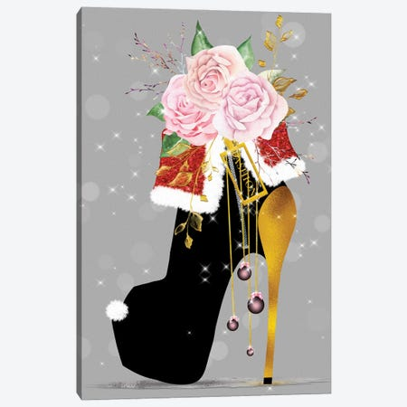Black & Gold Christmas High Heel With Pink Blush Roses Canvas Print #POB584} by Pomaikai Barron Canvas Art