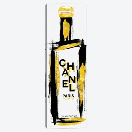 Black & Gold Grunged Chanel Champagne Bottle Canvas Print #POB601} by Pomaikai Barron Canvas Artwork