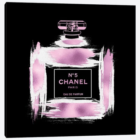 Metallic Pink & White On Black Grunged No5 Paris Perfume Bottle Canvas Print #POB609} by Pomaikai Barron Canvas Wall Art