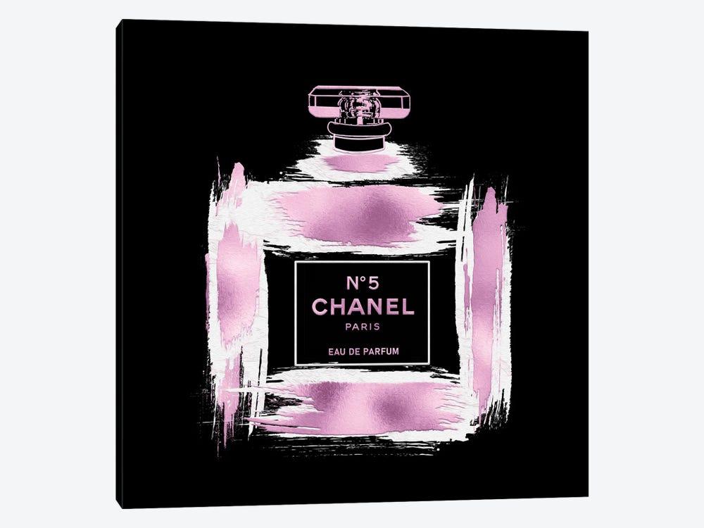 Metallic Pink & White On Black Grunged No5 Paris Perfume Bottle by Pomaikai Barron 1-piece Canvas Art Print
