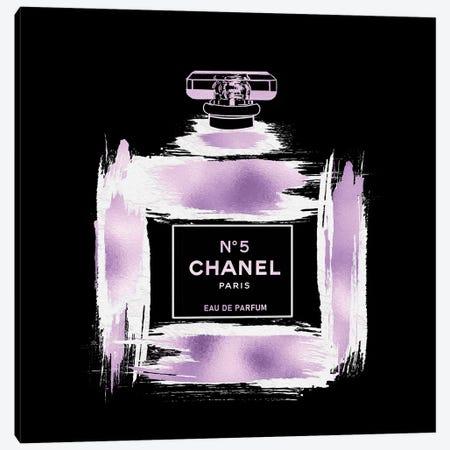Metallic Purple & White On Black Grunged No5 Paris Perfume Bottle Canvas Print #POB610} by Pomaikai Barron Canvas Art Print