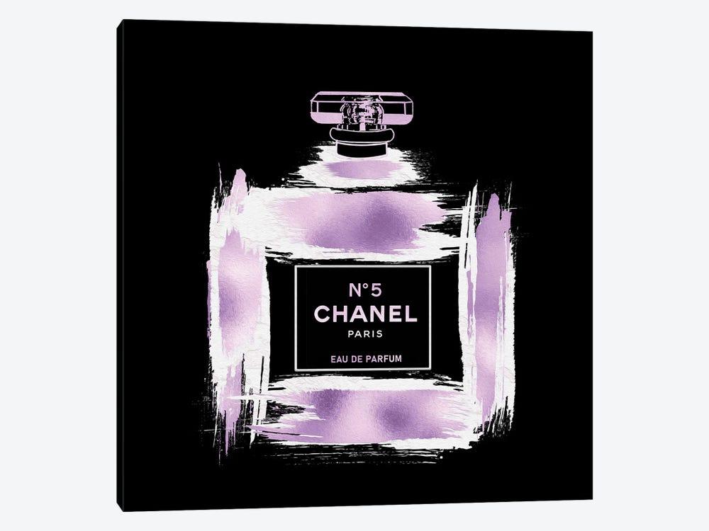 Metallic Purple & White On Black Grunged No5 Paris Perfume Bottle by Pomaikai Barron 1-piece Art Print