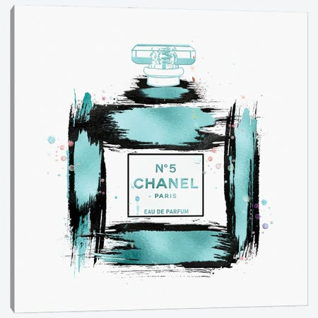 Soft Blue & Black Paint Stroked No5 Perfume Bottle Canvas Print #POB615} by Pomaikai Barron Canvas Artwork
