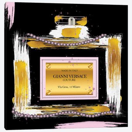 Gianni Couture Perfume Bottle Pink On Black Canvas Print #POB631} by Pomaikai Barron Canvas Art Print