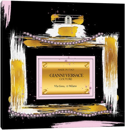 Gianni Couture Perfume Bottle Pink On Black Canvas Art Print